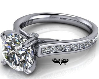 Moissanite Engagement ring  Solitaire 1,2,3,4.5 or 6 Carat center Stone Trek Quality #1 D-E Colorless or G-H Near Colorless  Platinum #6721P