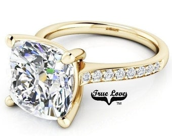 5 Carat Moissanite Engagement Ring Trek Quality #1 D-E-F or G-H Color VVS Clarity  as listed Cushion Cut  14kt Yellow Gold,  Wedding , #8319