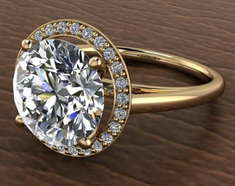 Custom order for Marcus 4 Carat Round  Moissanite Trek Quality #1 D-E Colorless Excellent Cut VVS Clarity  14 kt Yellow Gold #7124C