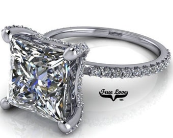 4 carat Moissanite Engagement Ring Platinum, from 1 up to 4 Carat Princess Cut trek Quality #1 , D-E Colorless VVS Clarity   #8312P