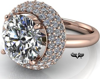 Engagement Ring Moissanite 1.25, 1.50, 2, 3 or 4 Carat Trek Quality #1 D-E Colorless or G-H Near colorless Round Brilliant Cut 14 kt   #6924
