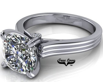 Moissanite 1, 1.25, 1.5 or 2 Carat Trek Quality #1 D-E Colorless or G-H Near Colorless. Engagement Ring 14 kt White Gold  #7140