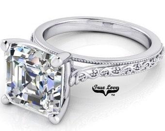 Moissanite Engagement Ring 14kt White Gold, Trek Quality #1 from 1 to 3 Carat , Wedding Ring, Side Moissanites, Assher Cut  #8263