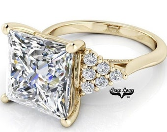 Moissanite Engagement Ring 1.8,2.8,4 or 5 Carat Princess Cut Trek Quality #1 D-E Colorless or G-H Near Colorless, 14kt Gold #8359YP