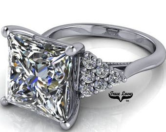 Moissanite Engagement Ring 1.8,2.8,4 or 5 Carat Princess Cut Trek Quality #1 D-E Colorless or G-H Near Colorless, 14kt Gold #8359RWP