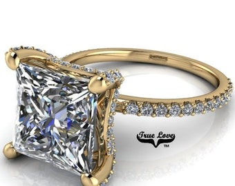Moissanite Engagement Ring 14 kt Yellow Gold, from 1 up to 4 Carat Princess Cut trek Quality #1 , D-E Colorless VVS Clarity   #8353