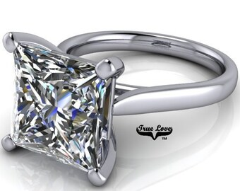 Moissanite Engagement Ring Platinum, from 1.25 up to 5 Carat Trek Quality #1 VVS Clarity D-E Colorless or G-H Near Colorless  #6775P