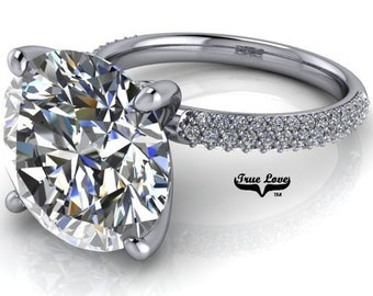 Moissanite Engagement  Platinum Ring Trek Quality #1, VVS Clarity DE Colorless or GH near Colorless 1,1.5,2,3,4,5,or 6 Carat 14 kt #7071P