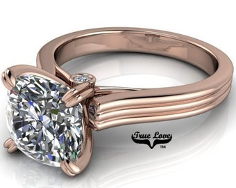 Moissanite 1, 1.25, 1.5 or 2 Carat Trek Quality #1 D-E Colorless or G-H Near Colorless. Engagement Ring 14 kt Rose Gold #6730