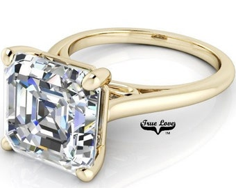 1.25 up to 6 Carat Asscher Cut Moissanite Trek quality #1  VVS Clarity D E Colorless ,14 kt Yellow Gold, side stones #8407