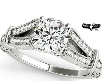 Moissanite Engagement Ring 14kt White Gold, Trek Quality #1, Wedding Ring, Side Moissanites, Split Shank #7707
