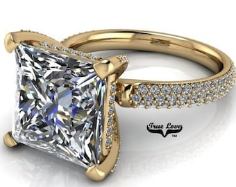 14 kt Moissanite Engagement Ring  princess Cut  Trek Quality #1 VVS Clarity DE Colorless or GH Near Colorless from 1.25 to 5.3 Carat #7079