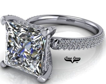Platinum Moissanite Engagement Ring princess Cut Trek Quality #1 VVS Clarity DE Colorless or GH Near Colorless from 1.25 to 5.3 Carat #7078P