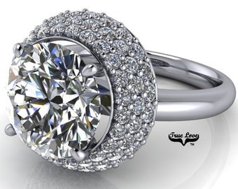 Platinum Engagement Ring Moissanite 1.25, 1.50,2,3 or 4 Carat Trek Quality #1 D-E Colorless or G-H Near colorless Round Brilliant cut #6942P