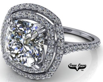 Moissanite Cushion Cut Engagement Ring ,Trek Quality #1 D-E Colorless Double Halo,Side Moissanites  Engagement Ring Platinum #6990P
