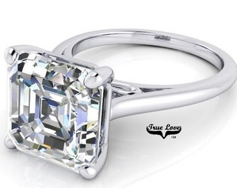 1.25 up to 6 Carat Asscher Cut Moissanite Trek quality #1  VVS Clarity D E Colorless ,14 kt White Gold, side stones #8406