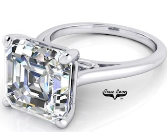 1.25 up to 6 Carat Asscher Cut Moissanite Trek quality #1  VVS Clarity D E Colorless ,Platinum, side stones #8406P
