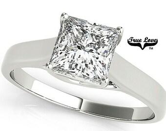 2.30 Catat  Princess Cut  Moissanite D-E Color VVS Clarity Engagement Ring 14kt White Gold, Trek Quality #1, Wedding Ring, Solitaire #7592