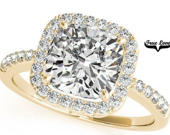 5 Carat Moissanite 10 mm Cushion cut Trek Quality #1 D-E-F or G-H Color VVS Clarity  Brand: True Love Halo Eng. Ring 14kt Yellow Gold #7301