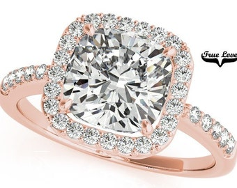 5 Carat Moissanite 10 mm Cushion cut Trek Quality #1 D-E-F or G-H Color VVS Clarity  Brand: True Love Halo Eng. Ring 14kt Rose Gold #7302