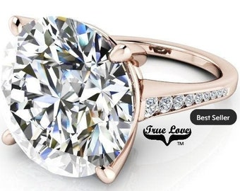 12 Carat Moissanite Engagement Ring Trek Quality #1 D-E-F or G-H ColorVVS Clarity as Listed Round brilliant Cut 14kt Rose Gold #8327