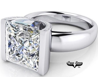 2,3,4 or 5 Carat  Princess Cut Moissanite Trek Quality #1 D-E Colorless or G-H Near Colorless VVS Clarity Eng. Ring 14kt White Gold #8348w