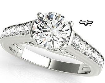 Moissanite Engagement Ring 14kt White Gold, Trek Quality #1, Wedding Ring, Round Engagement, Side Moissanites #7630