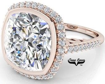 3.8,5,7 or 9 Carat Cushion Cut Moissanite Trek Quality #1 D-E Colorless or G-H Near Colorless, Eng. and Wedding Ring 14kt Gold #8361RC