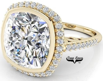3.8,5,7 or 9 Carat Cushion Cut Moissanite Trek Quality #1 D-E Colorless or G-H Near Colorless, Eng. and Wedding Ring 14kt Gold #8361YC