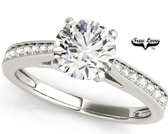 Moissanite Engagement Ring 14kt White Gold, Trek Quality #1, Wedding Ring, Side Moissanites #7532