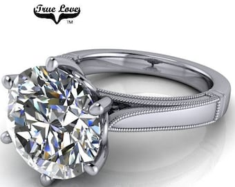 5  Carat Moissanite Engagement Ring Trek Quality #1 D-E-F or G-H Color VVS Clarity as listed  Round Brilliant Cut 14kt White Gold,    #8315