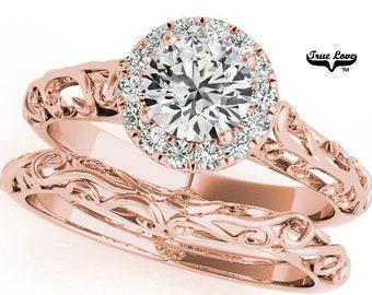 Moissanite Engagement with wedding band Ring 14kt Rose Gold, Trek Quality #1, Wedding Ring, Decorative, Halo wedding set #6872