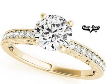 Moissanite Solitaire Engagement Ring 14 kt.White Gold One Carat Center Trek Quality #1 D-E Color  VVS Clarity, Side stones #7527
