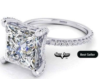 2 Carat Moissanite Engagement Ring 14 kt White Gold, from 1 up to 4 Carat Princess Cut trek Quality #1 , D-E Colorless VVS Clarity   #8312