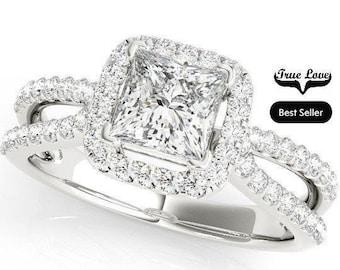 Princess Cut Halo  1  Carat or 1.5 Carat Center Moissanite Engagement Ring 14kt White Gold  Split Shank .40 Carat side Diamonds  #7263