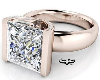 2,3,4 or 5 Carat  Princess Cut Moissanite Trek Quality #1 D-E Colorless or G-H Near Colorless VVS Clarity Eng. Ring 14kt Rose Gold #8348R