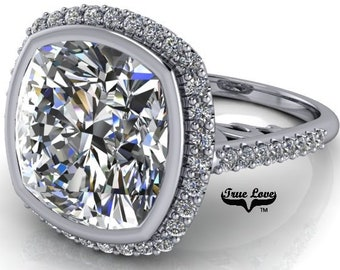 3.8,5,7 or 9 Carat Cushion Cut Moissanite Trek Quality #1 D-E Colorless or G-H Near Colorless, Eng. and Wedding Ring 14kt Gold #8361WC