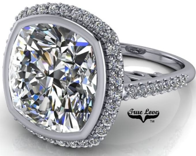 3.8,5,7 or 9 Carat Cushion Cut Moissanite Trek Quality #1 D-E-F colorless or G-H Near Colorless, Eng. and Wedding Ring 14kt Gold #8361WC