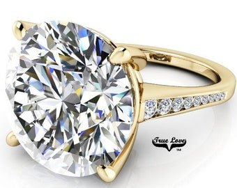 From 2 up to 12 Carat Moissanite Eng. Ring Trek Quality #1 D-E Colorless or G-H Color VVS Clarity Round brilliant Cut 14 kt Gold #8326Y