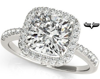 5 Carat Moissanite 10 mm Cushion cut Trek Quality #1 D-E-F or GH Color VVS Clarity  Brand: True Love Halo  Eng. Ring 14kt White Gold #7300