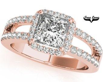 5.3 Carat Princess Cut MoissaniteTrek #1 D-E Color VVS Clarity  With .60 Carat Moissanites Brand True Love 14 kt. Rose Gold Halo #7305