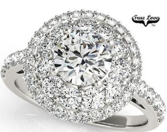 Moissanite Engagement Ring 14kt White Gold, Trek Quality #1, Wedding Ring, Halo #7535