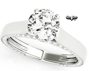 Moissanite Engagement Ring 14kt White Gold, Trek Quality #1, Wedding Ring, Round Solitaire #7613