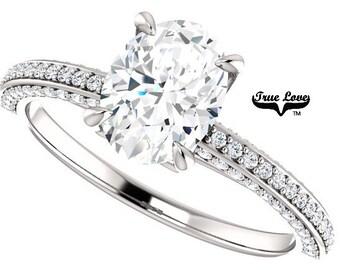 Moissanite Engagement Ring 14kt White Gold, Trek Quality #1, Wedding Ring, Oval Engagement, Side Moissanites #8205