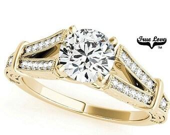 Moissanite Engagement Ring 14kt Yellow Gold, Wedding Ring, Split Shank, Side Moissanites #7708
