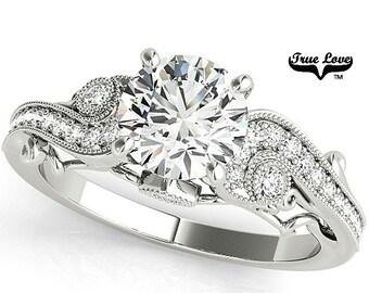 Moissanite Engagement Ring 14kt White Gold, Trek Quality #1, Wedding Ring, Side Moissanites #7704