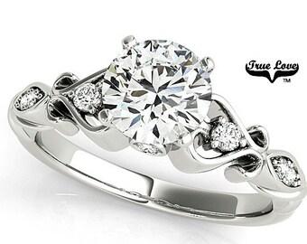 Moissanite Engagement Ring 14kt White Gold, Trek Quality #1, Wedding Ring, Side Moissanites #7710