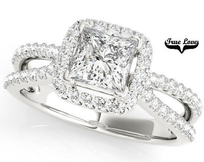 Featured listing image: Princess Cut Halo  1  Carat or 1.5 Carat Center Moissanite Engagement Ring 14kt White Gold  Split Shank .40 Carat side Diamonds  #7263