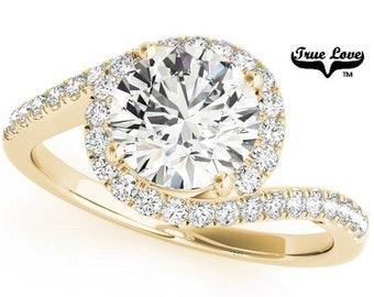 Moissanite by pass  Engagement Ring 14 kt Yellow Gold, Trek Quality #1, Wedding Ring,  Spiral, Side Moissanites #7645