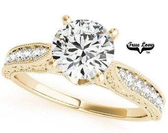 Moissanite Engagement Ring 14kt Yellow Gold #7521